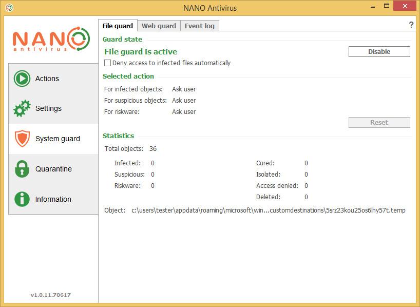 NANO AntiVirus screenshot