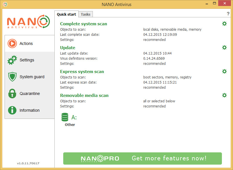 NANO AntiVirus screenshot